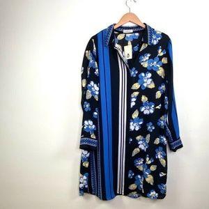 Lands End 18 Shirt Dress Blue Black Floral